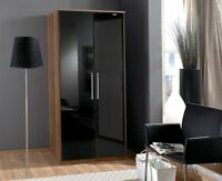 Dresden 2 Door Wardrobe German High Gloss Black And Walnut Cupboard Wardrobes