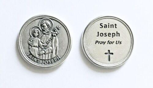 LARGE METAL POCKET PRAYER COIN TOKEN SAINT ST JOSEPH MEDAL