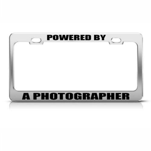 Powered By A Photographer Chome Metal License Plate Frame Tag Holder