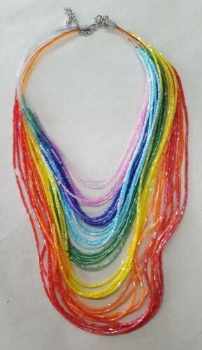 """Halskette Damen /""""Rainbow Regenbogen Chakra Farben/"""" Glasperlen 30cm verstellbar"""