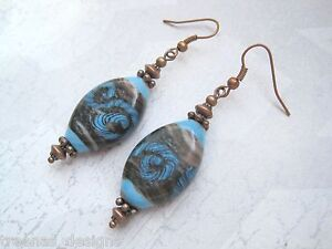 CHUNKY-OVAL-BROWN-BLUE-SWIRL-LAMPWORK-GLASS-BEAD-Copper-Drop-Earrings-Gift-Bag