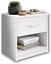 miniatura 1 - Comodino in legno color bianco con cassetto, Elegante arredo per la camera letto