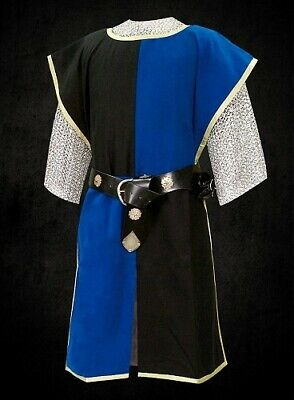 Medieval Renaissance Clothing Tunic Blue Knight Sleeveless Surcoat SCA Larp