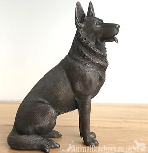 16cm-Bronze-sitting-German-Shepherd-Alsatian-ornament-figurine-Dog-Lover-gift