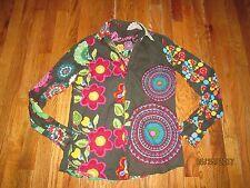 Desigual Women's Geisha Floral Print Art Deco Button Up Top Shirt Size L