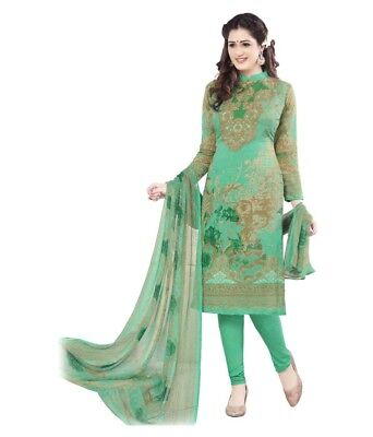 Unstitched Salwar EDH Kameez Synthetic Designer Punjabi Suit Indian Pakistani