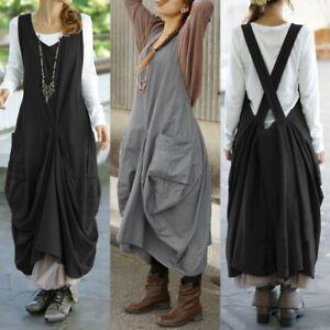 ZANZEA-Femme-Sans-Manche-Asymetrique-Poches-laterales-Casuel-Jupe-Robe-Plus
