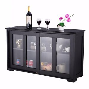 Image is loading Kitchen-Island-Server-Storage-Cabinet-Wood-Cupboard-Glass-  sc 1 st  eBay & Kitchen Island Server Storage Cabinet Wood Cupboard Glass Doors ...