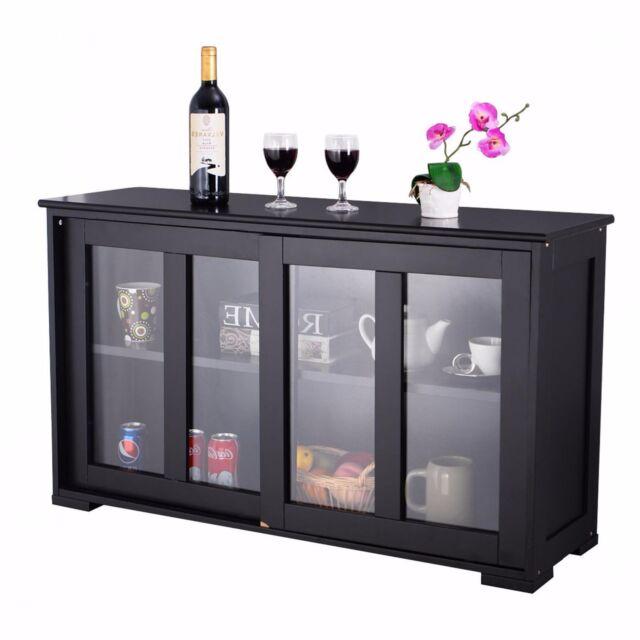 Buy Kitchen Island Server Storage Cabinet Wood Cupboard Glass Doors