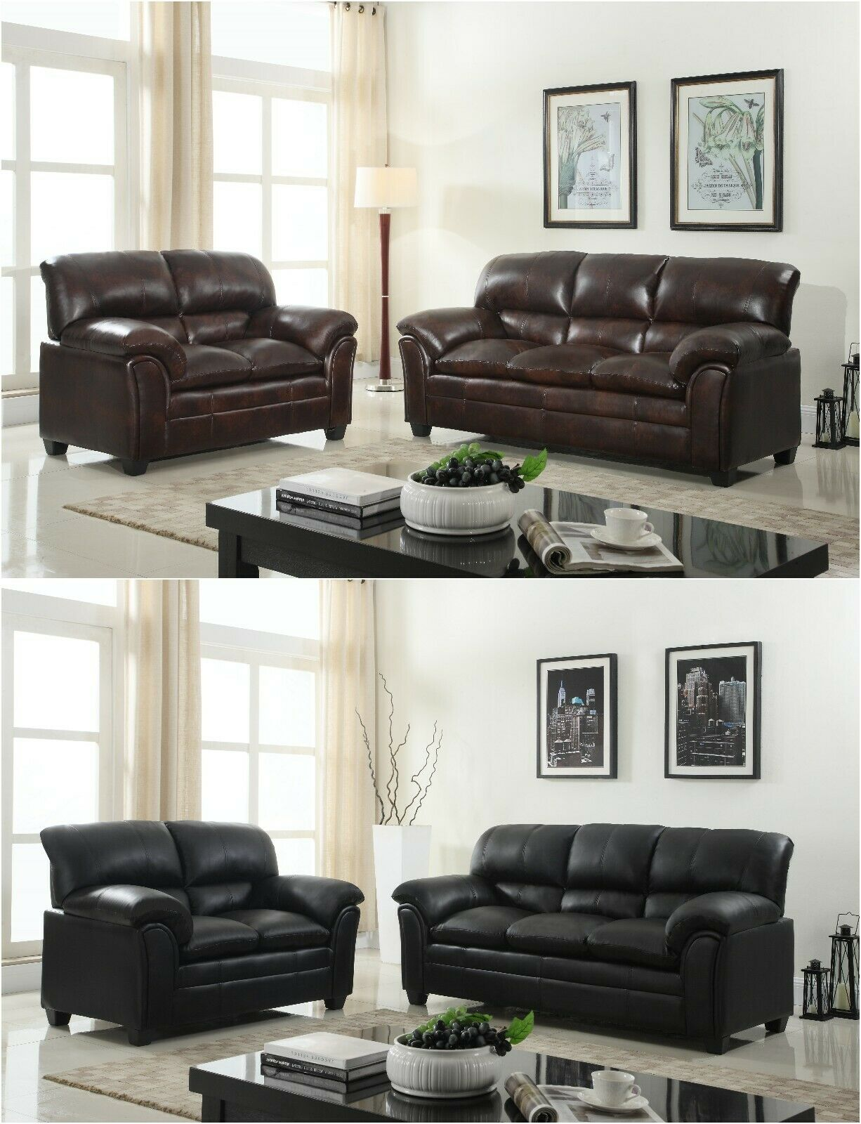 Black Tufted Leather Sofa Loveseat Or