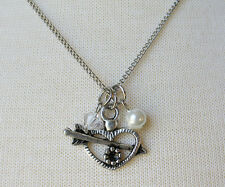 Heart Charm with Crystal and White Pearl Necklace - 18 inch Curb Chain