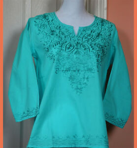 Embroidered-Cotton-Tunic-Top-Kurti-Blouse-in-Aqua-Color-from-India-M-and-XL