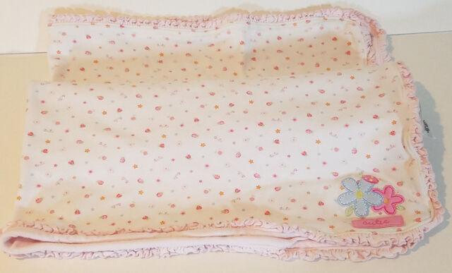 Just One Year White pink Girl Baby Blanket Cutie Flowers Ruffled Edge Ladybug