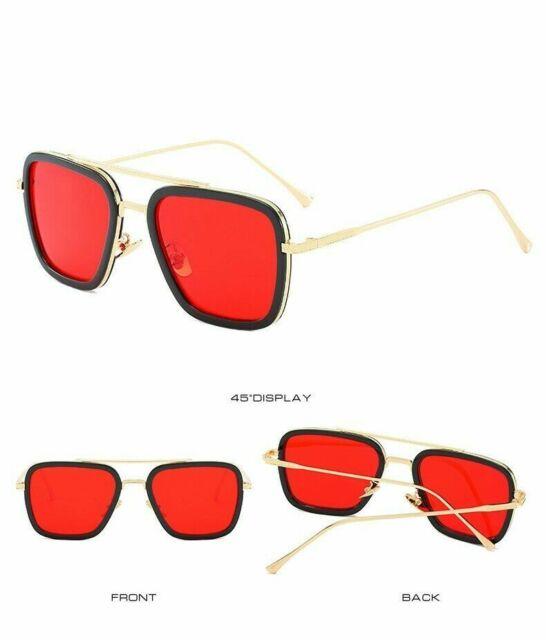 Iron Man 3 Robert Downey TONY Sunglasses Red Lens STARK Personalized glasses HOT
