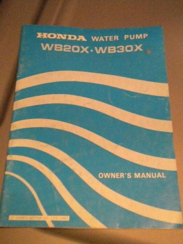 Honda Owners Owner U0026 39 S Manual Wb20x Wb30x 1983