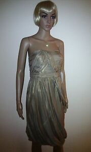 Gold 12 Party Evening Monsoon Size Ball Cocktail Dress Wedding Prom Silk afwqqvd