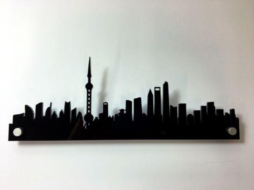 SHANGHAI Acrylic Skyline Silhouette Art Black Acrylic with fixings