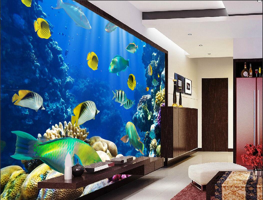 3D Ocean Fish 402 Wallpaper Murals Wall Print Wallpaper Mural AJ WALL AU Lemon