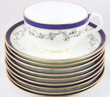 7 SETS CAULDON ENGLAND CHINA #L5852 CUPS SAUCERS COBALT BLUE GOLD WHITE FLORAL