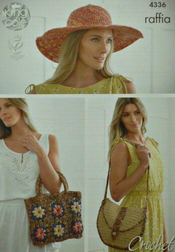 CROCHET PATTERN Hat Shoulder Bag and Flower Squares Bag Raffia King Cole 4336