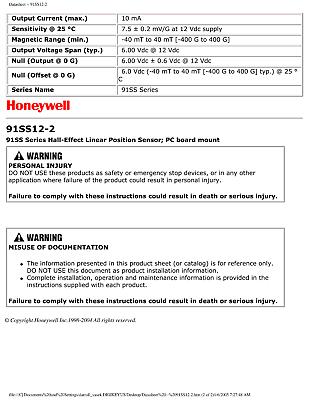 Honeywell 7.5mV//G Industrial Linear Position Hall Effect Magnetic Sensor 91SS12
