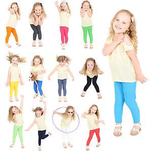 Girls-Kids-Children-Cotton-Full-Length-Leggings-All-Ages-Black-Green-Yellow-Grey