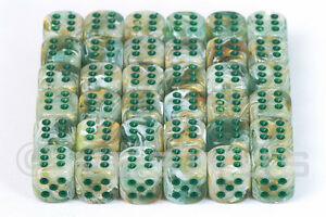 Dice Chessex Marble Veined Green Mini 36d6 D6 Block Set D D Rpg 12mm 27809 601982025816 Ebay