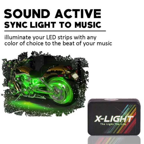 NEW 14PC LED POD LIGHT KIT MOTORCYCLE ACCENT GLOW LIGHTS BASS ACTIVE MUSIC SYNC