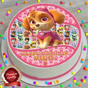 Paw PATROL SKYE personalizzata Buon Compleanno 7.5 pollici Commestibili Cake Topper B-165G