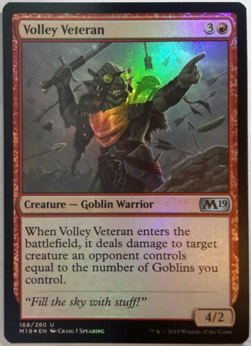 2x FOIL Volley Veteran Near Mint Magic modern legacy goblin Core Set 2019 M19 x2