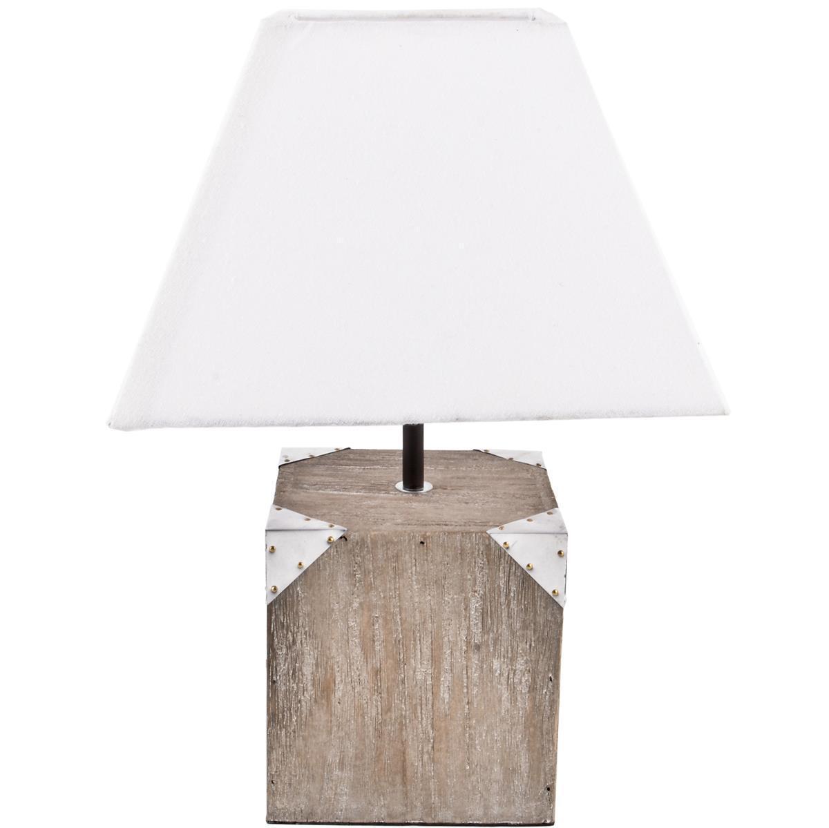 Lampadaire St. Maarten deco-design bois 43x30x30cm de Boue-Blanc Lampe
