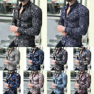 Men-Fashion-Casual-Long-Sleeve-Shirts-Business-Slim-T-Shirt-Printed-Blouse-Tops