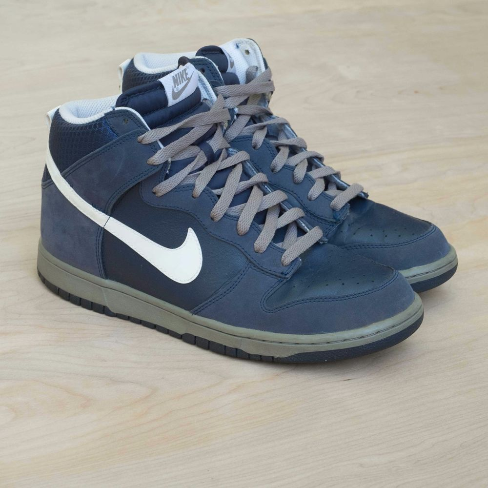 Nike Dunk High Midnight Navy Light Charcoal 317982-401 Size 10.5 US Rare DS New