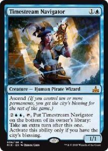 TIMESTREAM NAVIGATOR Rivals of Ixalan MTG Blue Creature — Pirate Mythic Rare