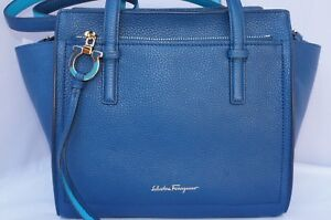 7bc48b19095d New Salvatore Ferragamo Amy Bag Small Satchel Blue Handbag Tote Sale ...