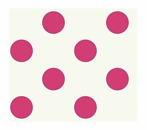 Image Is Loading Large Hot Pink Polka Dots On White Wallpaper