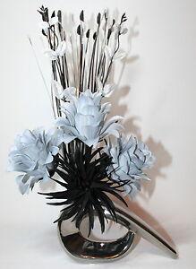 Artificial silk flower arrangement grey black in black or silver image is loading artificial silk flower arrangement grey amp black in mightylinksfo