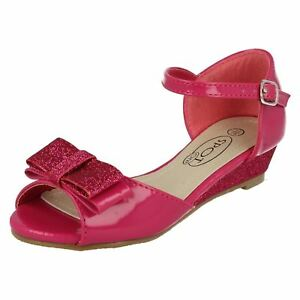 4e761fc2860 Details about Spot On H1077 Girls Fuchsia Pat/Glitter Synthetic Peep Toe  Shoes w/Bow (R59B)(K)