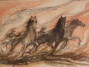 Avoir Un Esprit De Recherche Jean Goujon (xx) Course De Chevaux Vallauris Peintre Céramiste Hippisme Cannes Valeur Formidable