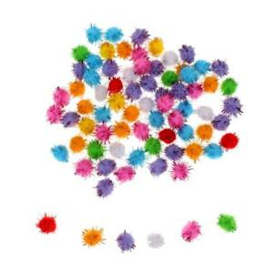 21pc//Lot Colorful Cat Kitten Toys Tinsel Pom Pom Balls 3.5cm Kids Toys DIY