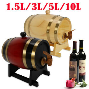 1-5-3-5-10L-Wine-Barrel-Dispenser-Wood-Pine-Keg-Barrel-Rum-Whiskey-for-Bar-USA