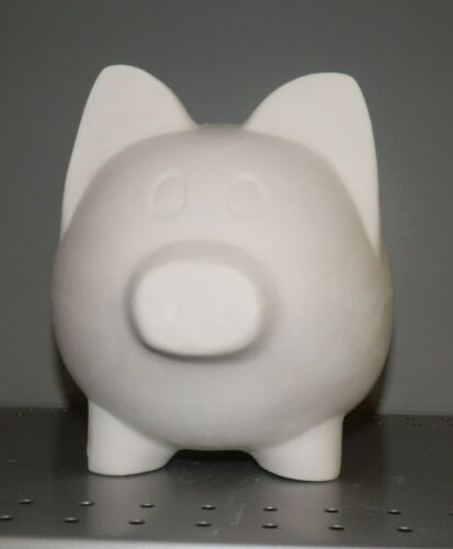 Large Pig Piggy Bank with Stopper Plug  *Ceramic Bisque Ready to Paint