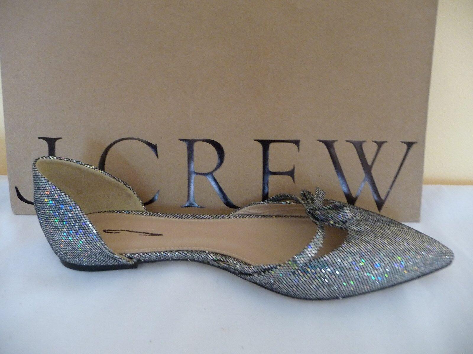 NEW J.CREW J.CREW J.CREW SLOAN GLITTER D'ORSAY FLATS WITH MINI BOW, E4476, Taille 6,  158 1e97ed