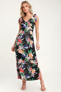 NWT Lulus Black Colorful Tropical Floral Midi Maxi Dress Size S Tie Sleeve Beach
