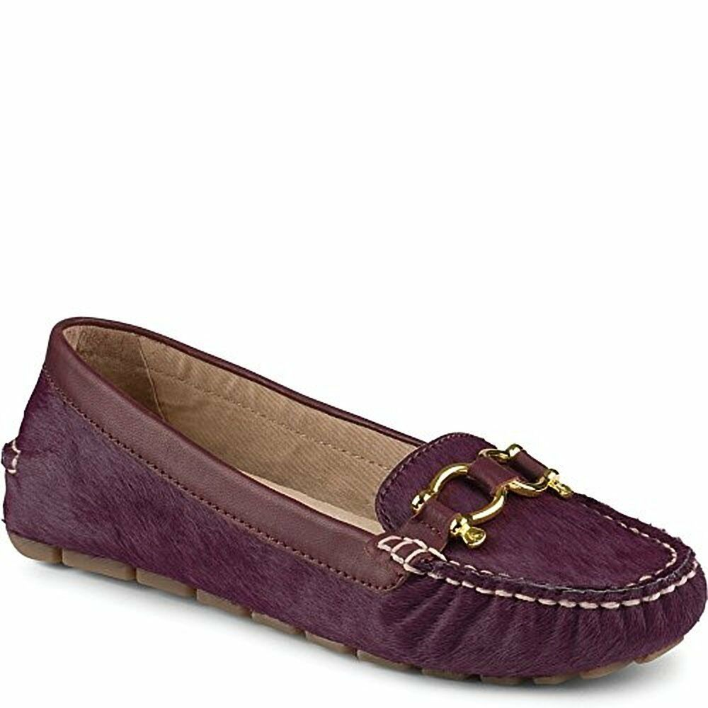 Sperry Top-sider Jenna Wine Loafers Flats Fur Pelle Driver Driver Driver Moccasins Mult Sz 5474f0