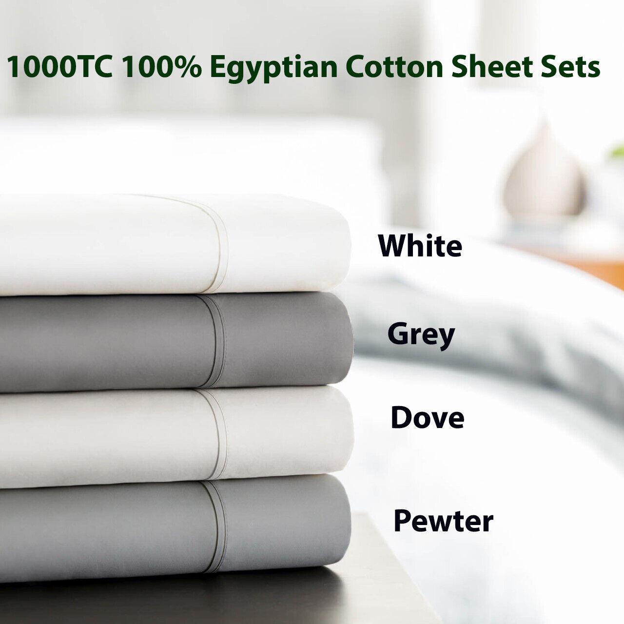 LUXE Bedding 1000 TC Egyptian Cotton Sheet set Mega-King  King Mega-Queen Queen