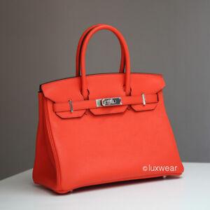 07aede98809b Новая аутентичная сумка Hermes Birkin мака оранжевый и палладий 30 ...