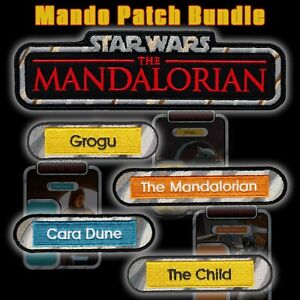 """Vintage Kenner STAR WARS""""The Mandalorian"""" Title & name Capsule bundle 5 patches"""