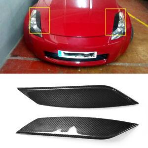 2x-Carbon-Scheinwerferblenden-Augenlid-fuer-Nissan-350Z-Z33-Fairlady-03-08-Eyelid