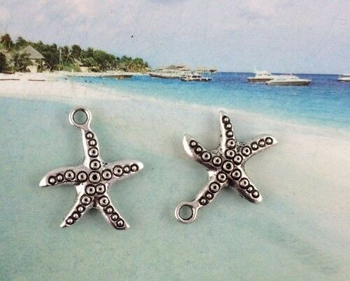 Free Ship 50Pcs Tibetan Silver Starfish Star Charms Pendants Fit Bracelet 25 mm